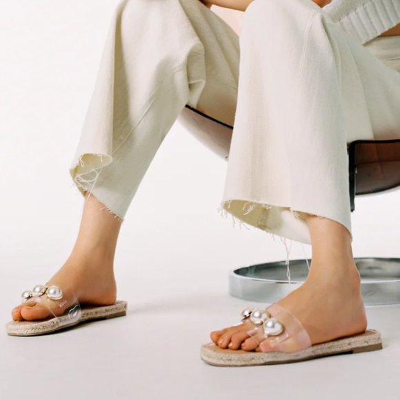 Zara - NEW - Transparent Pearl Sandals - Size 8